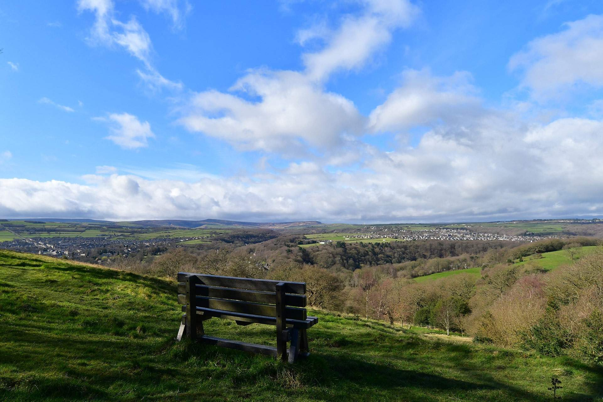Seat with a view over Holme Valley Castle Hill walk by Sandie Nicholson